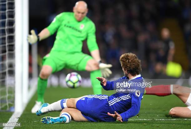 Marcos Alonso of Chelsea scores his sides second goal during the Premier League match between Chelsea and Middlesbrough at Stamford Bridge on May 8...