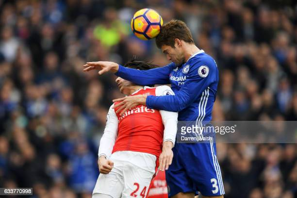 Marcos Alonso of Chelsea scores the opening goal during the Premier League match between Chelsea and Arsenal at Stamford Bridge on February 4 2017 in...