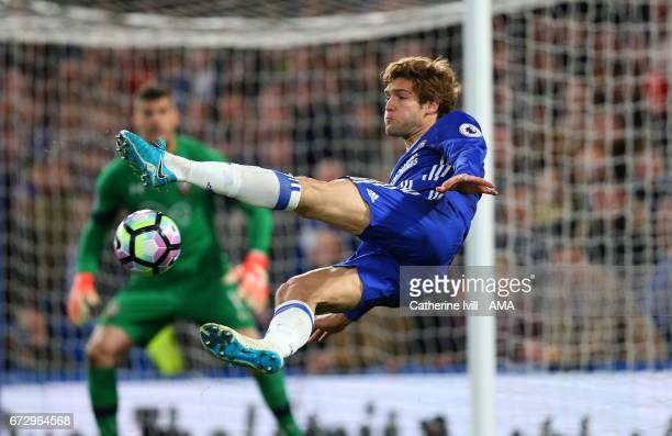 Marcos Alonso of Chelsea tries a bicycle kick during the Premier League match between Chelsea and Southampton at Stamford Bridge on April 25 2017 in...