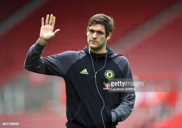 Marcos Alonso of Chelsea waves to fans prior to the Premier League match between Stoke City and Chelsea at Bet365 Stadium on March 18 2017 in Stoke...