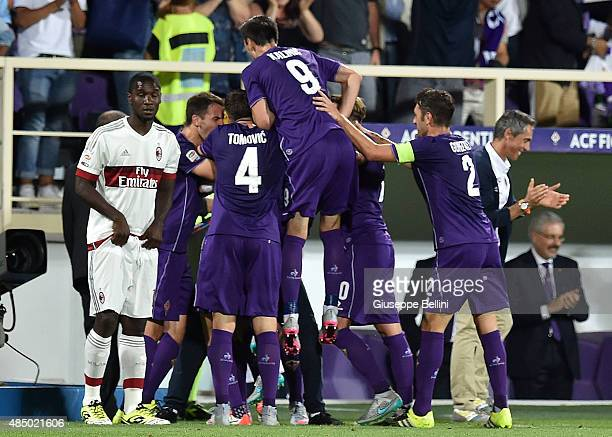 Marcos Alonso of Fiorentina celebrates after scoring the opening goal during the Serie A match between ACF Fiorentina and AC Milan at Stadio Artemio...