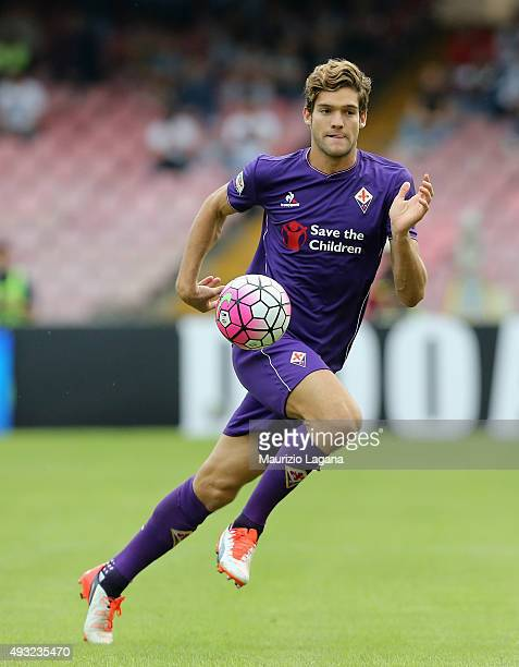 Marcos Alonso of Fiorentina during the Serie A match between SSC Napoli and ACF Fiorentina at Stadio San Paolo on October 18 2015 in Naples Italy