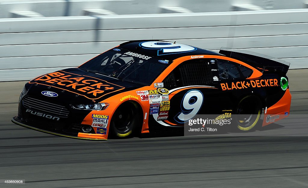 Marcos Ambrose, driver of the #9 Black & Decker Ford, on track during practice for the NASCAR Sprint Cup Series Pure Michigan 400 at Michigan International Speedway on August 15, 2014 in Brooklyn, Michigan.