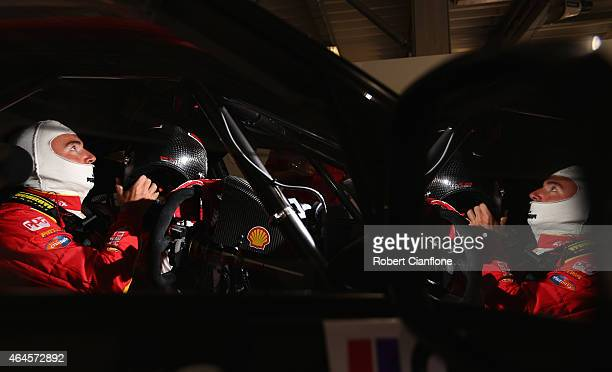 Marcos Ambrose driver of the DJR Team Penske Ford prepares for practice for the V8 Supercars Clipsal 500 at the Adelaide Street Circuit on February...