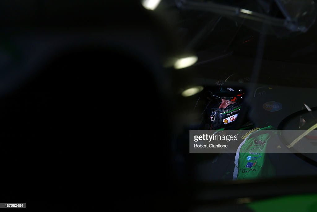 Marcos Ambrose driver of the #17 DJR Team Penske Ford sits in the car prior to practice for the Sandown 500, which is part of the V8 Supercars Championship at Sandown International Motor Raceway on September 11, 2015 in Melbourne, Australia.