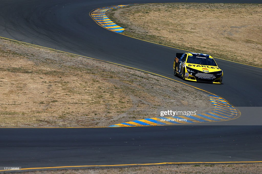 <a gi-track='captionPersonalityLinkClicked' href=/galleries/search?phrase=Marcos+Ambrose&family=editorial&specificpeople=179434 ng-click='$event.stopPropagation()'>Marcos Ambrose</a>, driver of the #9 Stanley Ford, drives during qualifying for the NASCAR Sprint Cup Series Toyota/Save Mart 350 at Sonoma Raceway on June 22, 2013 in Sonoma, California.