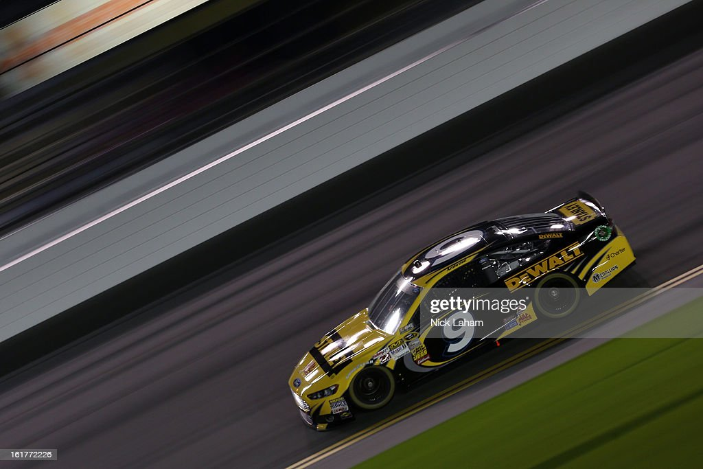 <a gi-track='captionPersonalityLinkClicked' href=/galleries/search?phrase=Marcos+Ambrose&family=editorial&specificpeople=179434 ng-click='$event.stopPropagation()'>Marcos Ambrose</a>, driver of the #9 Stanley Ford, during practice for the NASCAR Sprint Cup Series Sprint Unlimited at Daytona International Speedway on February 15, 2013 in Daytona Beach, Florida.