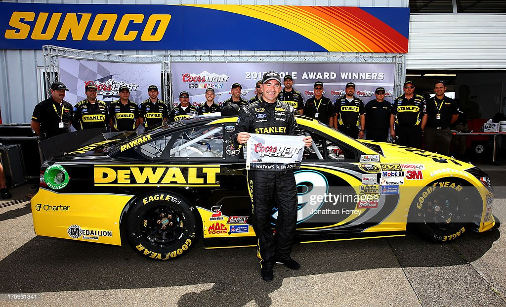 <a gi-track='captionPersonalityLinkClicked' href=/galleries/search?phrase=Marcos+Ambrose&family=editorial&specificpeople=179434 ng-click='$event.stopPropagation()'>Marcos Ambrose</a>, driver of the #9 Stanley/CTC Jumpstart Ford, poses with the pole award after qualifying on the pole for the NASCAR Sprint Cup Series Cheez-It 355 at The Glen at Watkins Glen International on August 10, 2013 in Watkins Glen, New York.