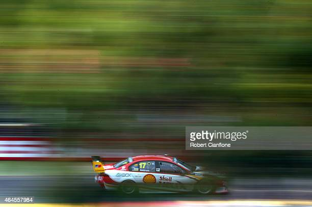 Marcos Ambrose drives the DJR Team Penske Ford during practice for the V8 Supercars Clipsal 500 at Adelaide Street Circuit on February 27 2015 in...
