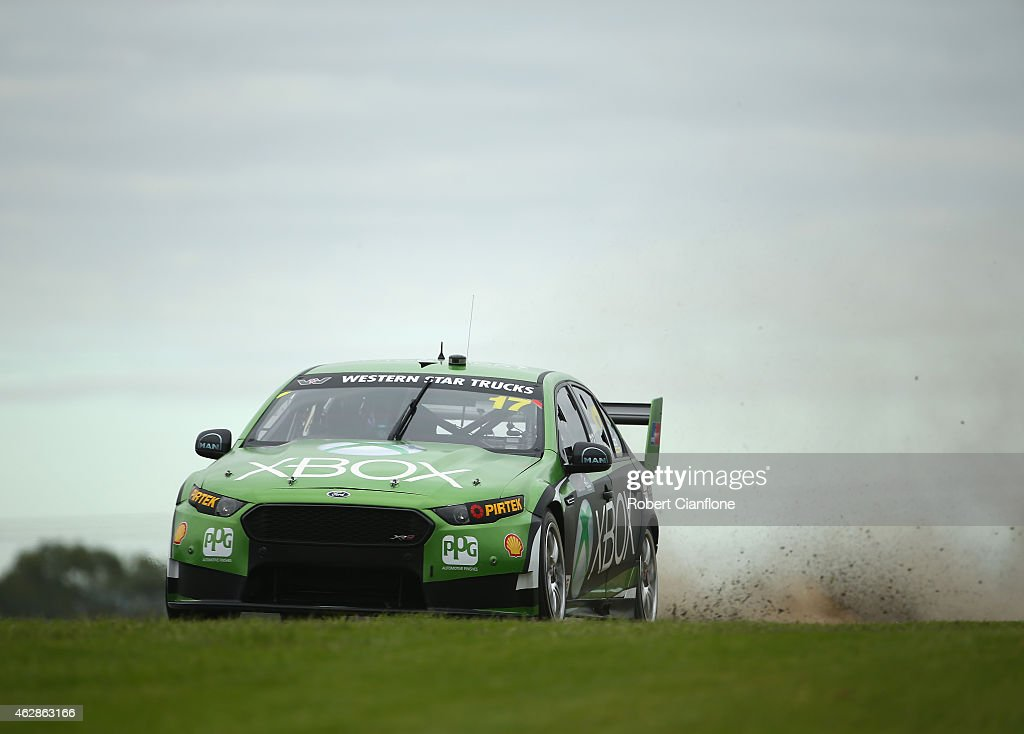 <a gi-track='captionPersonalityLinkClicked' href=/galleries/search?phrase=Marcos+Ambrose&family=editorial&specificpeople=179434 ng-click='$event.stopPropagation()'>Marcos Ambrose</a> drives the #17 DJR Team Penske Ford during the 2015 V8 Supercars SuperTest at Sydney Motorsport Park on February 7, 2015 in Sydney, Australia.