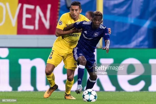 Marcos Aoas Correa of Paris SaintGermain Henry Onyekuru of RSC Anderlecht during the UEFA Champions League group B match between RSC Anderlecht and...