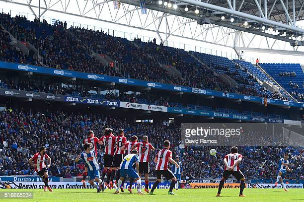 Marcos Asensio of RCD Espanyol takes a free kick during the La Lga match between Real CD Espanyol and Athletic Club de Bilbao at CornellaEl Prat...