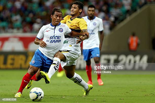 Marcos Aurelio of Bahia battles for the ball during the match between Bahia and Criciuma as part of Brasileirao Series A 2014 at Arena Fonte Nova on...