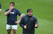 Marcos Ayerza issues instructions during the Argentina captain's run at Twickenham Stadium on November 8 2013 in London England