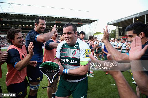 Marcos Ayerza of Argentina and Leicester Tigers is applauded from the field after his Testimonial Challenge match between Leicester Tigers and...