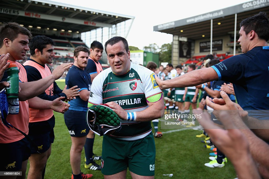<a gi-track='captionPersonalityLinkClicked' href=/galleries/search?phrase=Marcos+Ayerza&family=editorial&specificpeople=3034035 ng-click='$event.stopPropagation()'>Marcos Ayerza</a> of Argentina and Leicester Tigers is applauded from the field after his Testimonial Challenge match between Leicester Tigers and Argentina at Welford Road on September 5, 2015 in Leicester, England.