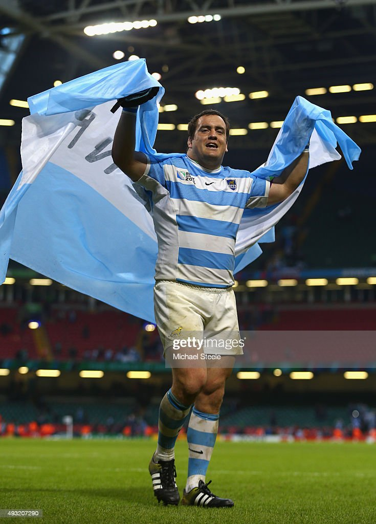 <a gi-track='captionPersonalityLinkClicked' href=/galleries/search?phrase=Marcos+Ayerza&family=editorial&specificpeople=3034035 ng-click='$event.stopPropagation()'>Marcos Ayerza</a> of Argentina celebrates after winning their 2015 Rugby World Cup Quarter Final match between Ireland and Argentina at the Millennium Stadium on October 18, 2015 in Cardiff, United Kingdom.
