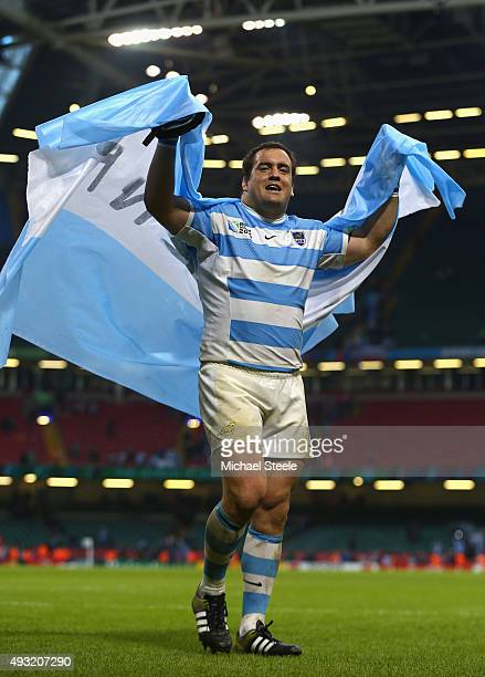 Marcos Ayerza of Argentina celebrates after winning their 2015 Rugby World Cup Quarter Final match between Ireland and Argentina at the Millennium...