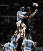 Marcos Ayerza of Argentina fights for the ball with Brodie Retallick of New Zealand during a match between Argentina Los Pumas and New Zealand All...