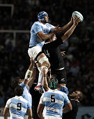 Marcos Ayerza of Argentina jumps for a line out ball during a match between Argentina Los Pumas and New Zealand All Blacks as part of fifth round of...