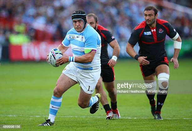 Marcos Ayerza of Argentina makes a break during the 2015 Rugby World Cup Pool C match between Argentina and Georgia at Kingsholm Stadium on September...