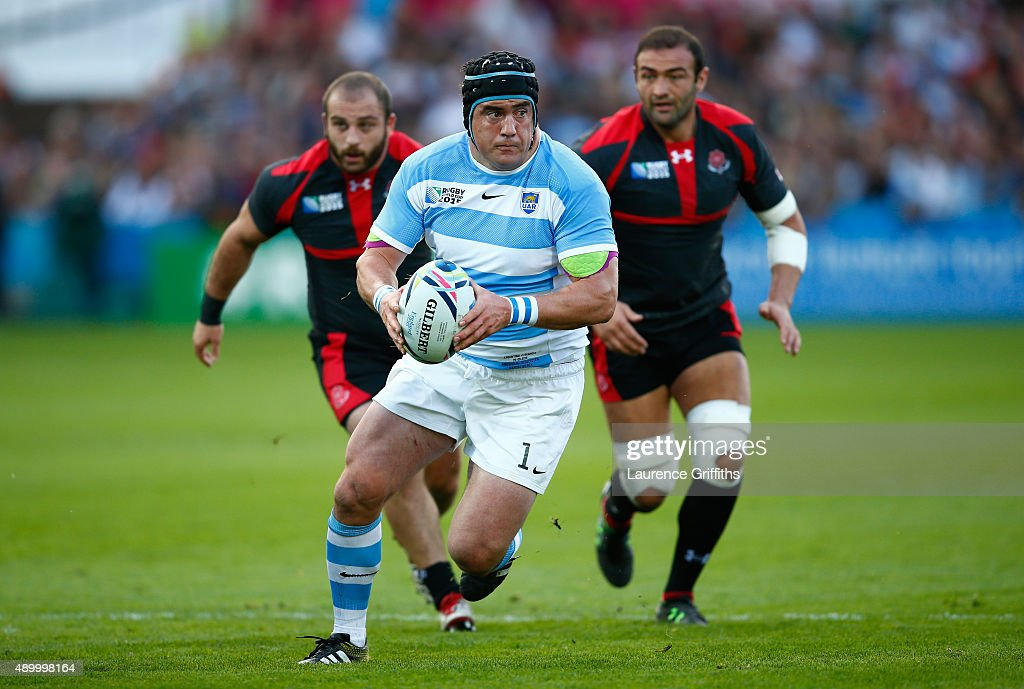 <a gi-track='captionPersonalityLinkClicked' href=/galleries/search?phrase=Marcos+Ayerza&family=editorial&specificpeople=3034035 ng-click='$event.stopPropagation()'>Marcos Ayerza</a> of Argentina makes a break during the 2015 Rugby World Cup Pool C match between Argentina and Georgia at Kingsholm Stadium on September 25, 2015 in Gloucester, United Kingdom.