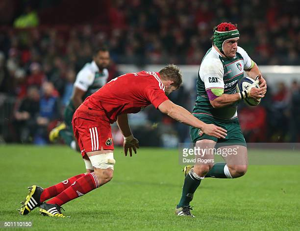 Marcos Ayerza of Leicester breaks with the ball during the European Rugby Champions Cup match between Munster and Leicester Tigers at Thomond Park on...