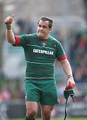 Marcos Ayerza of Leicester celebrates after the Aviva Premiership match between Leicester Tigers and Northampton Saints at Welford Road on May 16...