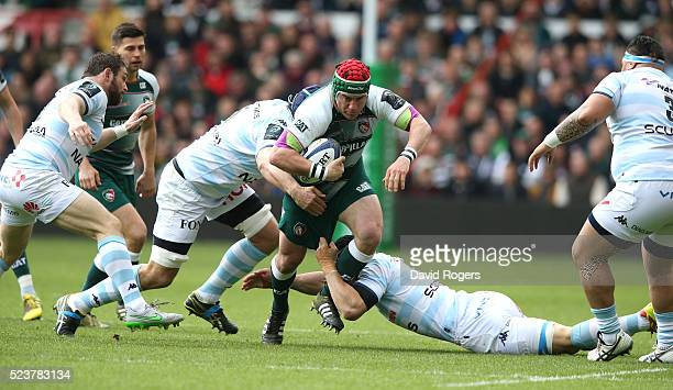 Marcos Ayerza of Leicester charges upfield during the European Rugby Champions Cup semi final match between Leicester Tigers and Racing 92 at the...