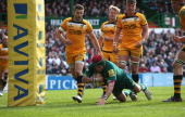 Marcos Ayerza of Leicester dives over but his effort was disallowed during the Aviva Premiership match between Leicester Tigers and London Wasps at...