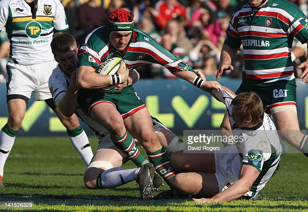 Marcos Ayerza of Leicester is held during the LV=Cup Final between Leicester Tigers and Northampton Saints at Sixways Stadium on March 18 2012 in...