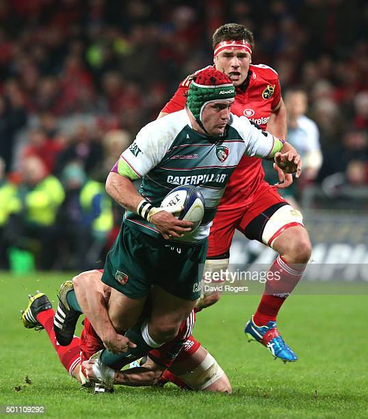 Marcos Ayerza of Leicester is tackled during the European Rugby Champions Cup match between Munster and Leicester Tigers at Thomond Park on December...