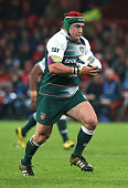 Marcos Ayerza of Leicester runs with the ball during the European Rugby Champions Cup match between Munster and Leicester Tigers at Thomond Park on...
