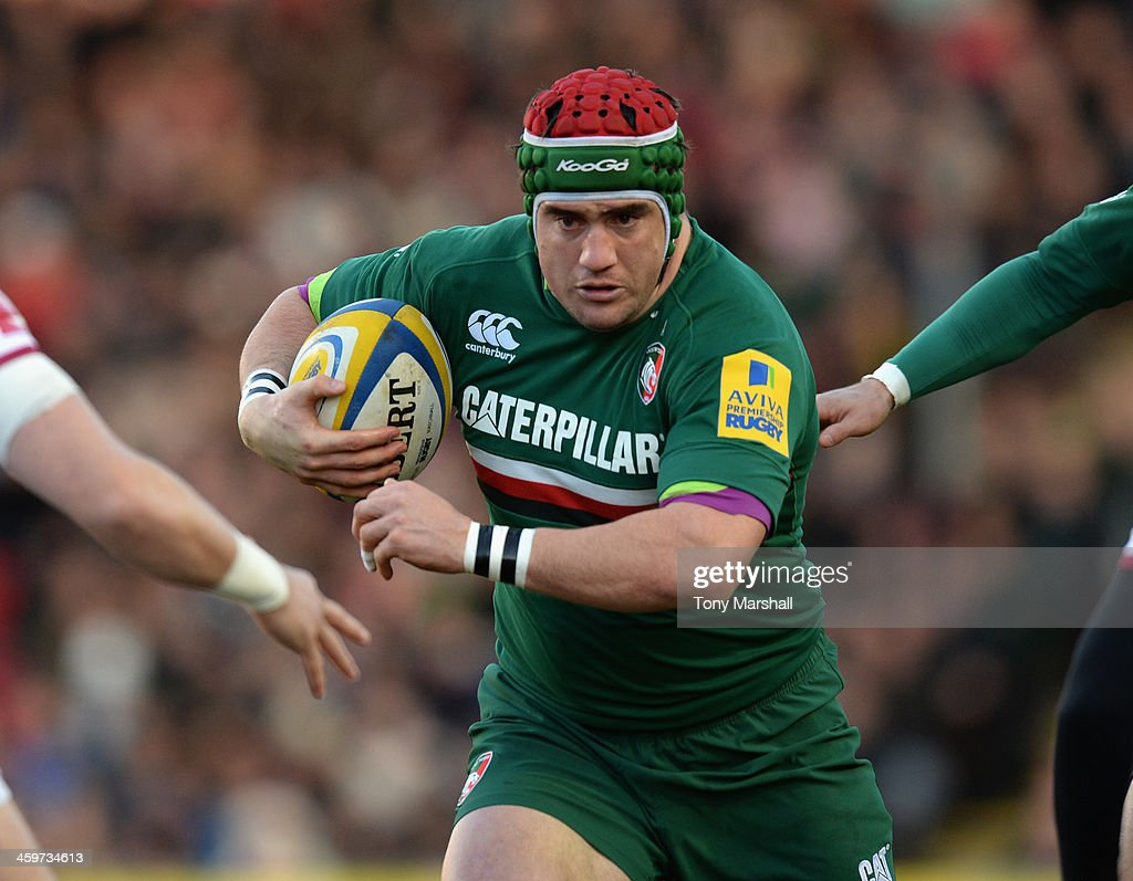 <a gi-track='captionPersonalityLinkClicked' href=/galleries/search?phrase=Marcos+Ayerza&family=editorial&specificpeople=3034035 ng-click='$event.stopPropagation()'>Marcos Ayerza</a> of Leicester Tigers in action during the Aviva Premiership match between Leicester Tigers and Sale Sharks at Welford Road on December 28, 2013 in Leicester, England.