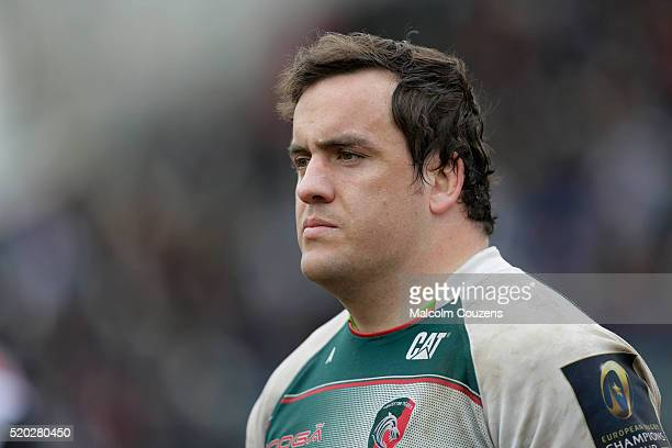 Marcos Ayerza of Leicester Tigers looks on during the European Rugby Champions Cup Quarter Final between Leicester Tigers and Stade Francais Paris on...