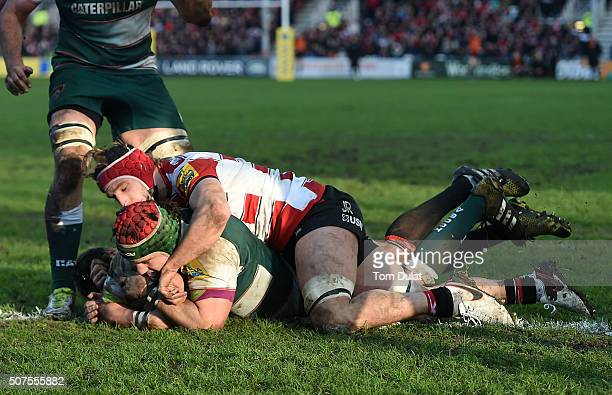 Marcos Ayerza of Leicester Tigers scores a try during the Aviva Premiership match between Gloucester Rugby and Leicester Tigers at Kingsholm Stadium...