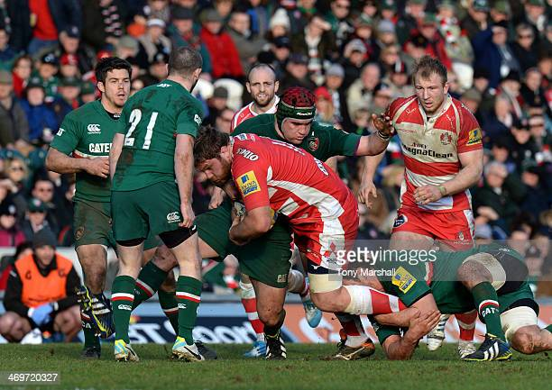 Marcos Ayerza of Leicester Tigers tackles Rupert Harden of Gloucester during the Aviva Premiership match between Leicester Tigers and Gloucester at...