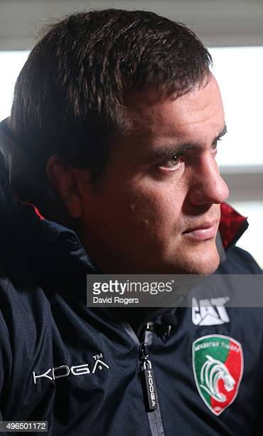 Marcos Ayerza the Leicester Tigers prop faces the media during the Leicester Tigers media session held at the Oadby Oval on November 10 2015 in...