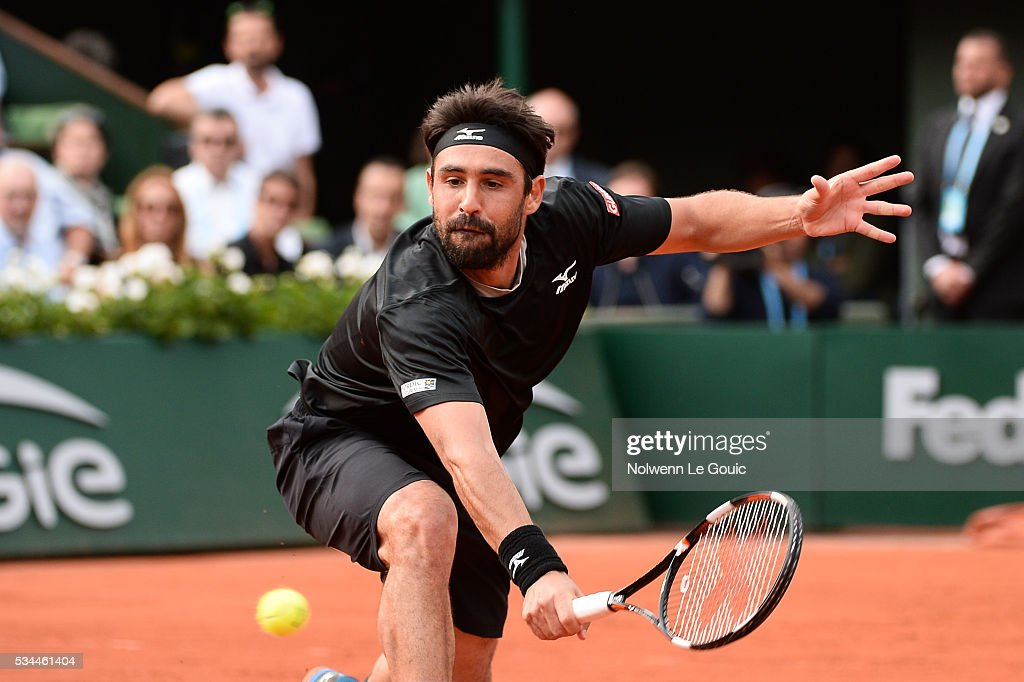 Marcos Baghdatis during the Men's Singles second round on day five of the French Open 2016 at Roland Garros on May 26, 2016 in Paris, France.