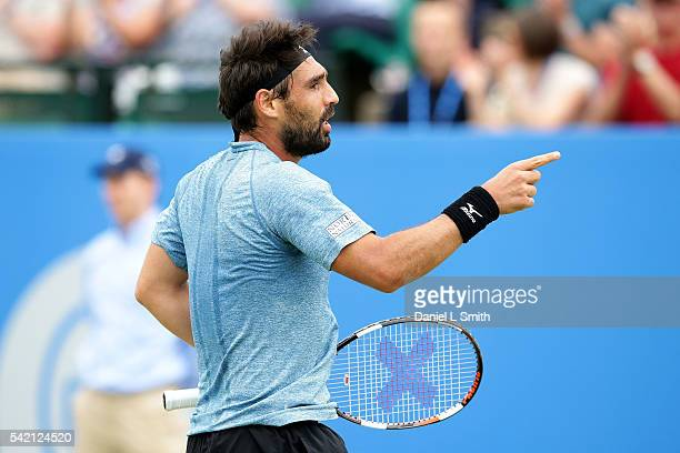 Marcos Baghdatis of Cyprus celebrates after winnig his men's singles match against Sam Querrey of USA to progress to the quarterfinals during day...