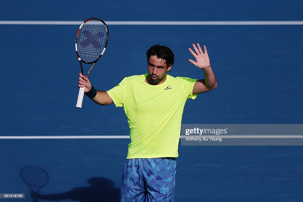 Marcos Baghdatis of Cyprus celebrates after winning his match against Jiri Vesely of Czech Republic on day 11 of the ASB Classic on January 12, 2017 in Auckland, New Zealand.