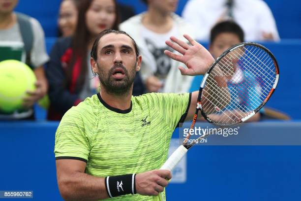 Marcos Baghdatis of Cyprus celebrates winning the semi final match against Guido Pella of Argentina during Day 6 of 2017 ATP Chengdu Open at Sichuan...