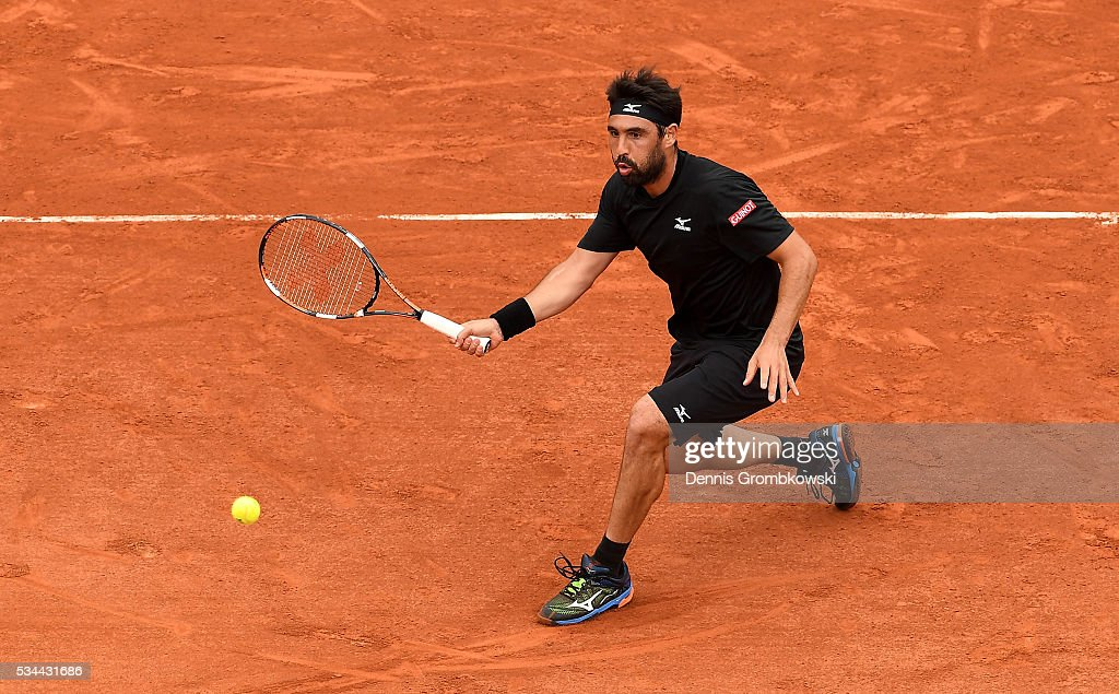 <a gi-track='captionPersonalityLinkClicked' href=/galleries/search?phrase=Marcos+Baghdatis&family=editorial&specificpeople=226943 ng-click='$event.stopPropagation()'>Marcos Baghdatis</a> of Cyprus hits a forehand during the Men's Singles second round match against Jo-Wilfried Tsonga of France on day five of the 2016 French Open at Roland Garros on May 26, 2016 in Paris, France.