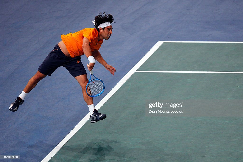 Marcos Baghdatis of Cyprus in action against Gilles Simon of France during day 1 of the BNP Paribas Masters at Palais Omnisports de Bercy on October 29, 2012 in Paris, France.