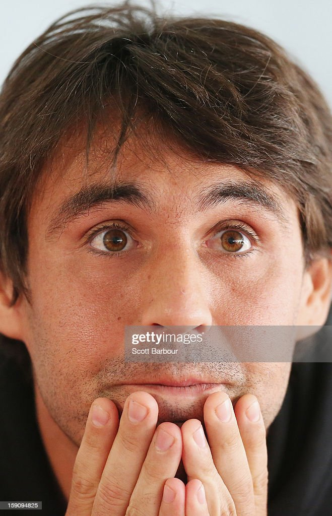 <a gi-track='captionPersonalityLinkClicked' href=/galleries/search?phrase=Marcos+Baghdatis&family=editorial&specificpeople=226943 ng-click='$event.stopPropagation()'>Marcos Baghdatis</a> of Cyprus looks on during the AAMI Classic press conference at Kooyong on January 8, 2013 in Melbourne, Australia.