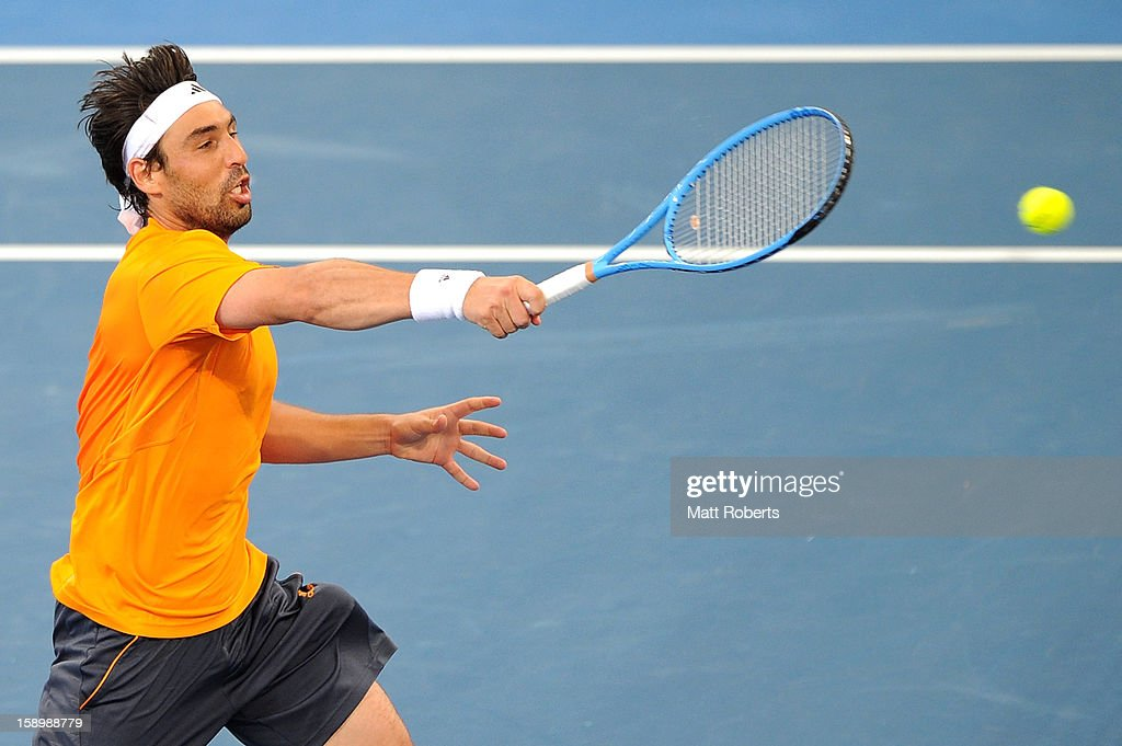 Marcos Baghdatis of Cyprus plays a forehand during his semi final match against Grigor Dimitrov of Bulgaria on day seven of the Brisbane International at Pat Rafter Arena on January 5, 2013 in Brisbane, Australia.