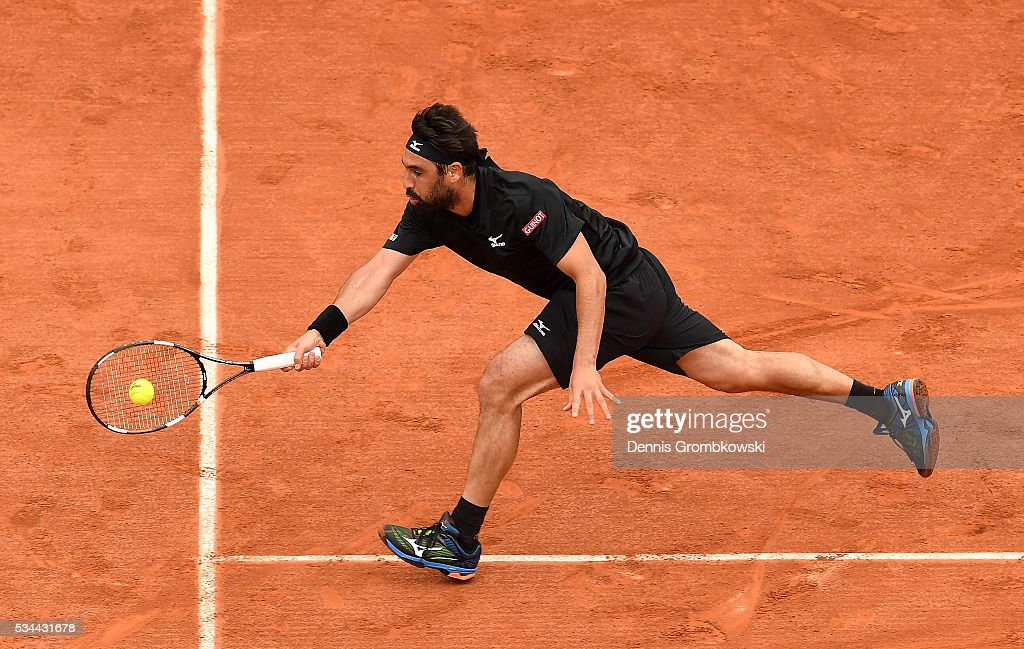 <a gi-track='captionPersonalityLinkClicked' href=/galleries/search?phrase=Marcos+Baghdatis&family=editorial&specificpeople=226943 ng-click='$event.stopPropagation()'>Marcos Baghdatis</a> of Cyprus plays a forehand during the Men's Singles second round match against Jo-Wilfried Tsonga of France on day five of the 2016 French Open at Roland Garros on May 26, 2016 in Paris, France.