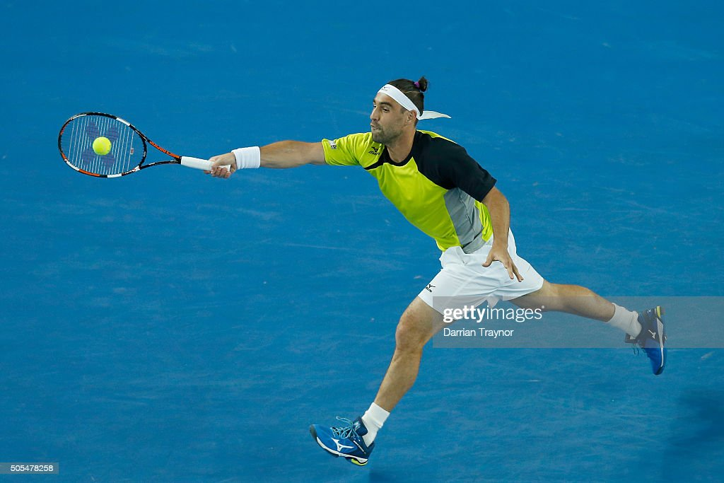 <a gi-track='captionPersonalityLinkClicked' href=/galleries/search?phrase=Marcos+Baghdatis&family=editorial&specificpeople=226943 ng-click='$event.stopPropagation()'>Marcos Baghdatis</a> of Cyprus plays a forehand in his first round match against Jo-Wilfried Tsonga of France during day one of the 2016 Australian Open at Melbourne Park on January 18, 2016 in Melbourne, Australia.