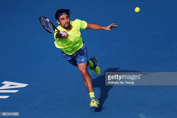 Marcos Baghdatis of Cyprus plays a forehand in his match against Dustin Brown of Germany on day ten of the ASB Classic on January 11 2017 in Auckland...