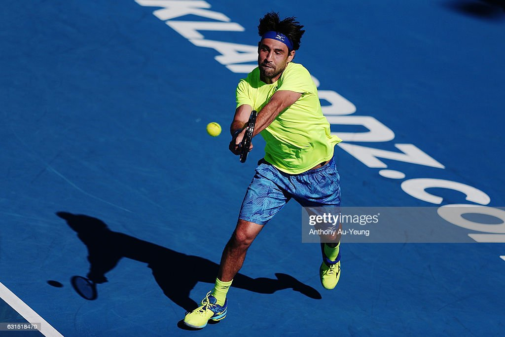Marcos Baghdatis of Cyprus plays a shot in his match against Jiri Vesely of Czech Republic on day 11 of the ASB Classic on January 12, 2017 in Auckland, New Zealand.